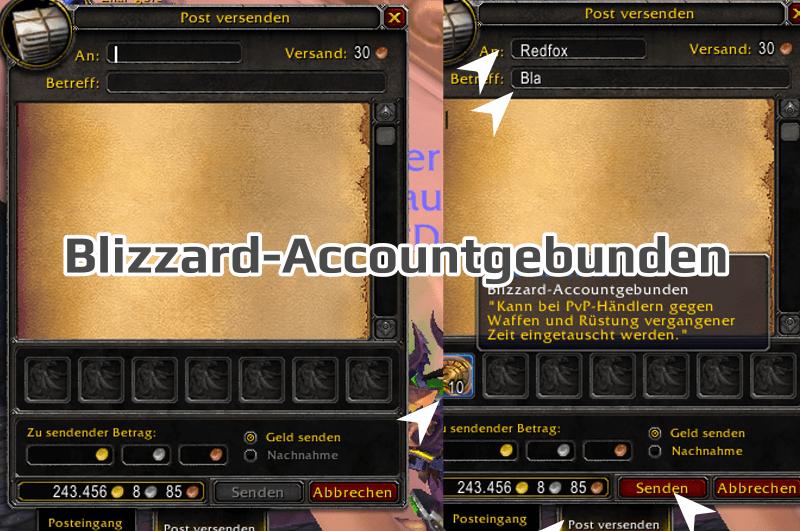 Blizzard-Accountgebunden versenden