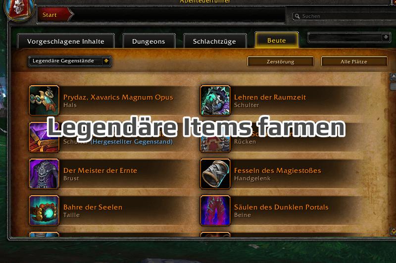 Legendäre Items in WoW farmen